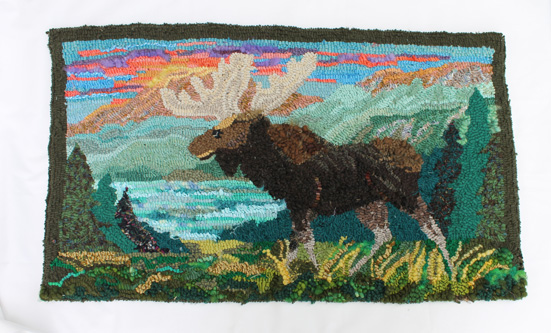 "Moose & Mountains - Deanne Fitzpatrick pattern -18 x 31"" - $800CAD"