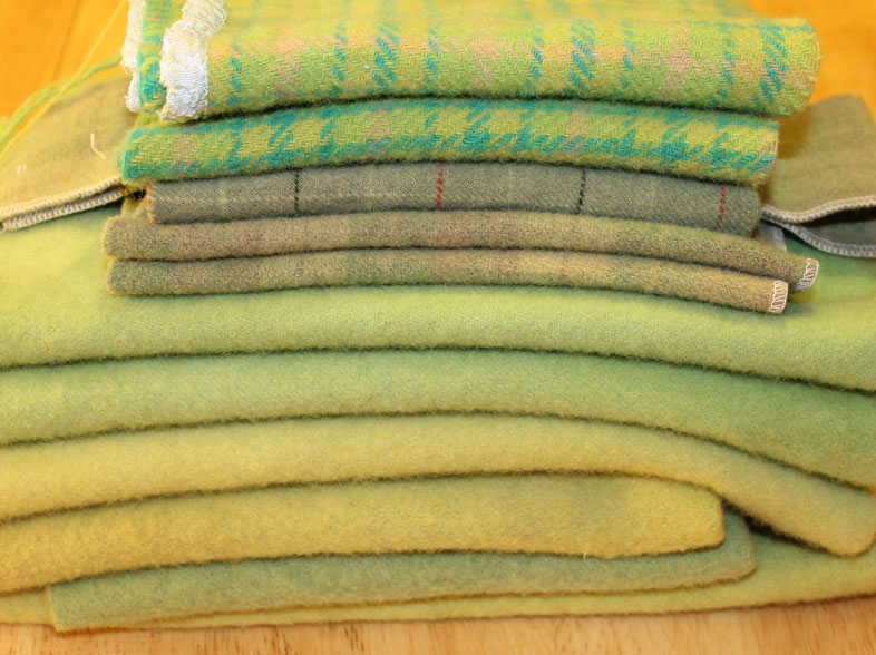 Fine wools and plaids for rug hooking.